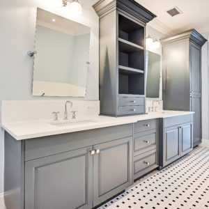 modern gray pigmented bathroom cabinets finished by Jeco Calgary custom wood finishing shop
