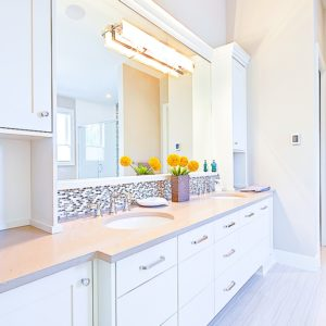 white pigmented bathroom cabinets