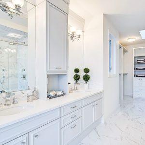 bright white bathroom cabinets in all white bathroom