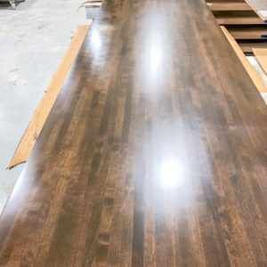 dark stained butcher block table