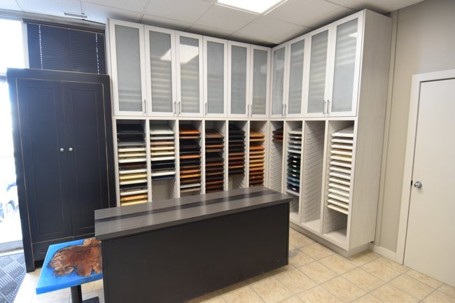 our custom cabinet finishing showroom in Calgary