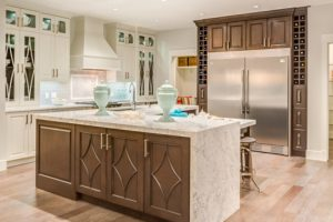 medium brown stained kitchen cabinets